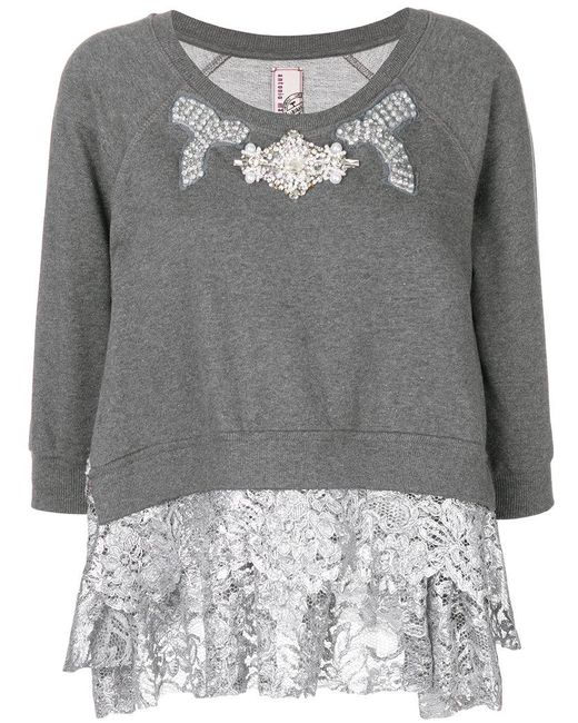 Antonio Marras - Gray Embellished Lace Trim Sweater - Lyst
