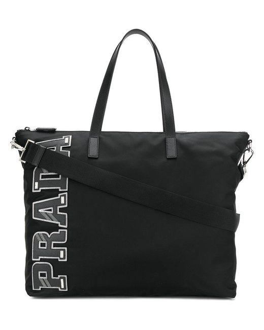 Prada - Black Nylon Tote Bag for Men - Lyst