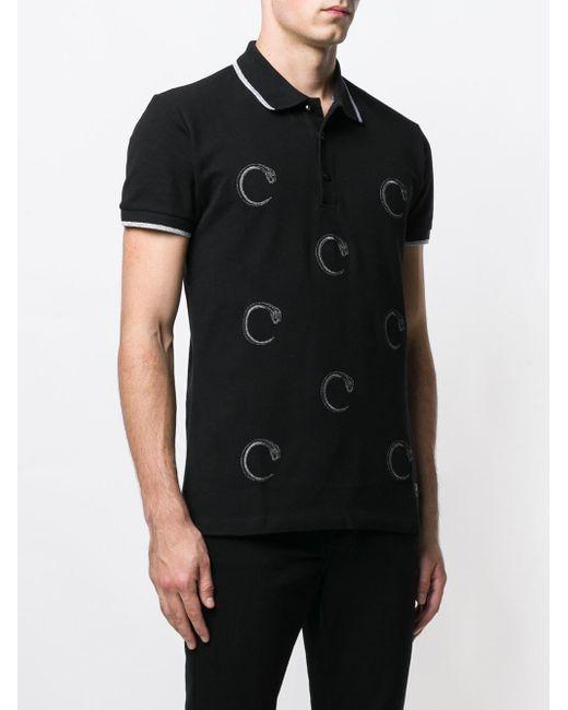 a45665ba ... Class Roberto Cavalli - Black Snake Prints Polo Shirt for Men - Lyst ...