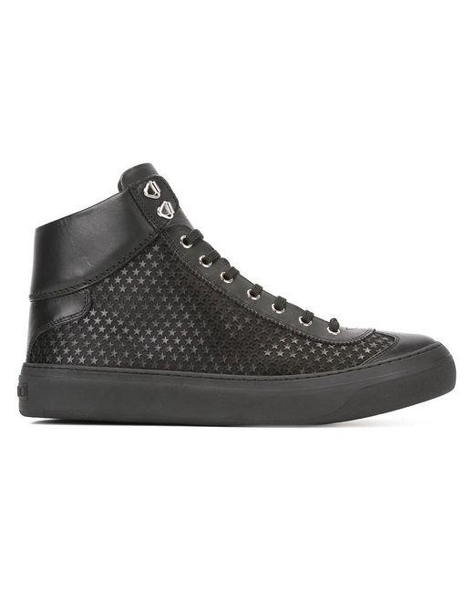 Jimmy Choo - Black Star Pattern Hi-top Sneakers for Men - Lyst