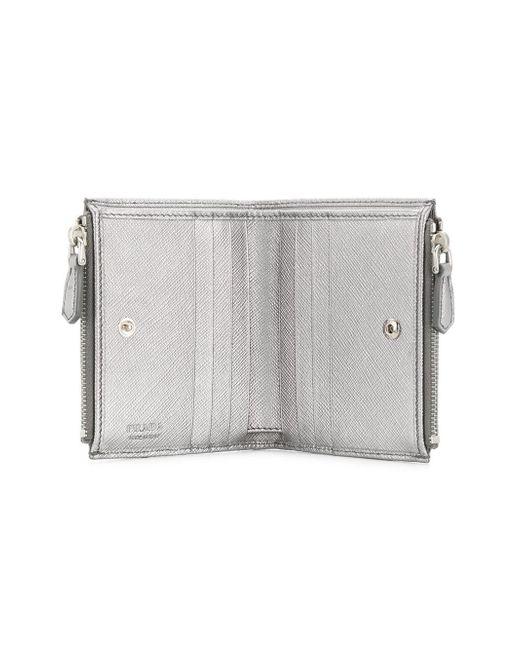 c59f91604c6e ... Prada - Metallic Logo Plaque Bifold Wallet - Lyst