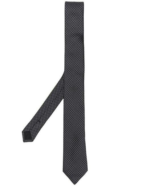 Saint Laurent - Black Micro Ysl Pattern Tie for Men - Lyst