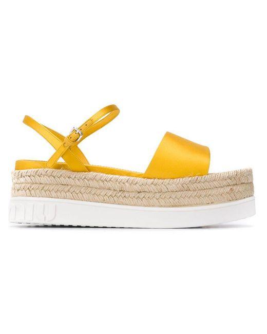 2abb741748 Miu Miu - Yellow Platform Sandals - Lyst ...