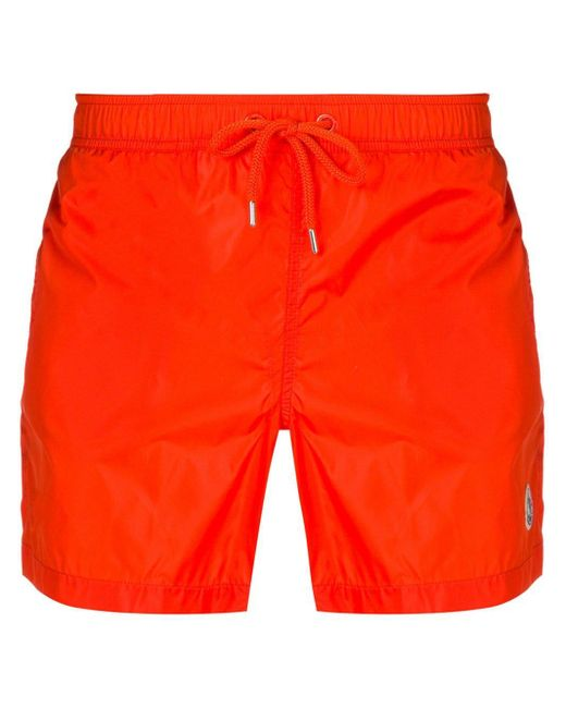 Moncler Orange Side Logo Swim Shorts for men