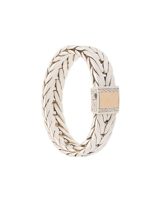 John Hardy - Metallic Silver Modern Chain Extra-large Bracelet With 18k Yellow Gold Clasp for Men - Lyst