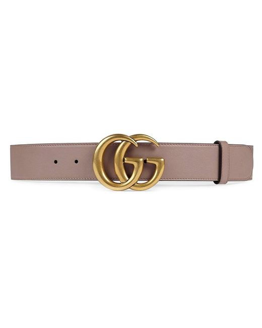 38c3e460f97 Gucci Leather Belt With Double G Buckle in Pink - Save 1% - Lyst
