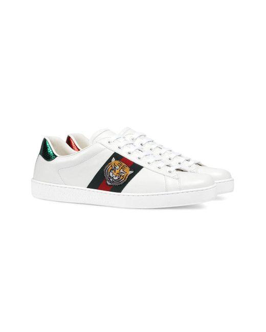 e1a67e8e1f8 ... Gucci - White Ace Embroidered Sneakers for Men - Lyst ...