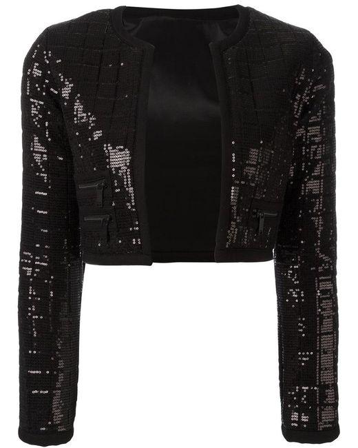 Karl Lagerfeld - Black Sequinned Cropped Jacket - Lyst