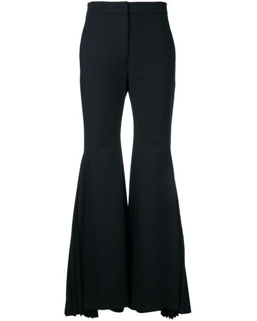 Sara Battaglia - Black Pleated Flared Trousers - Lyst