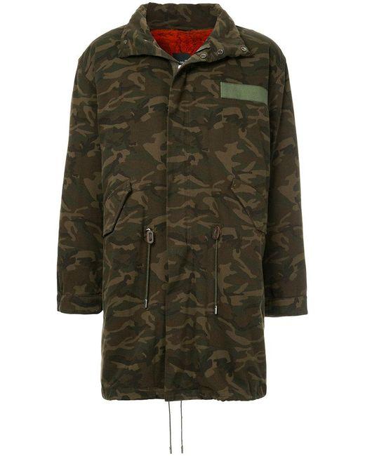 Yves Salomon - Green Fur Lined Camouflage Coat for Men - Lyst
