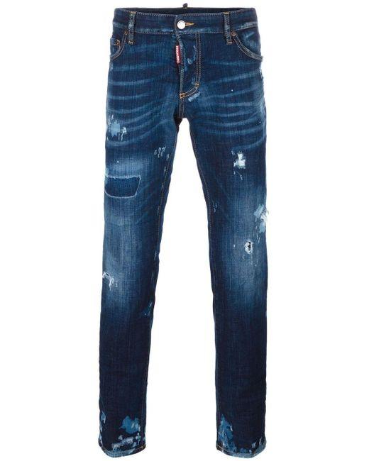 DSquared² Blue Distressed Slim-fit Jeans for men