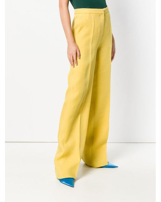 pantalones acampanados Lyst Rochas amarillo clásico wEznXA0xA