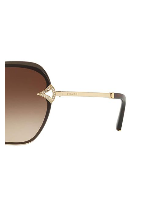 14303c7f9d1 ... BVLGARI - Metallic Oversized Round Frame Sunglasses - Lyst