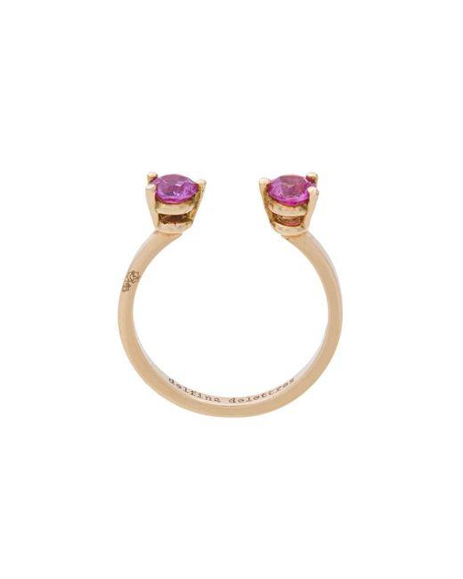 Delfina Delettrez - Metallic 2 Dots Pink Sapphires Midi Fingertip Ring - Lyst