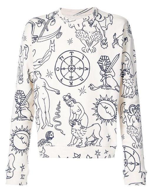 The Elder Statesman - White Printed Sweatshirt - Lyst