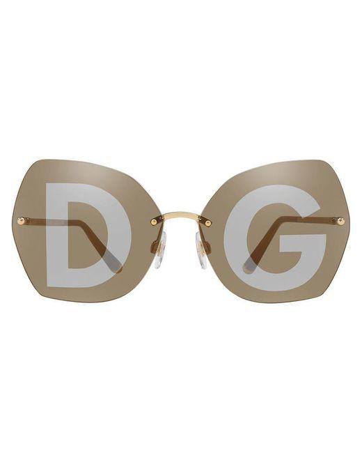 54c0ca8e932 Dolce   Gabbana - Metallic Monogram Lens Oversized Glasses - Lyst ...