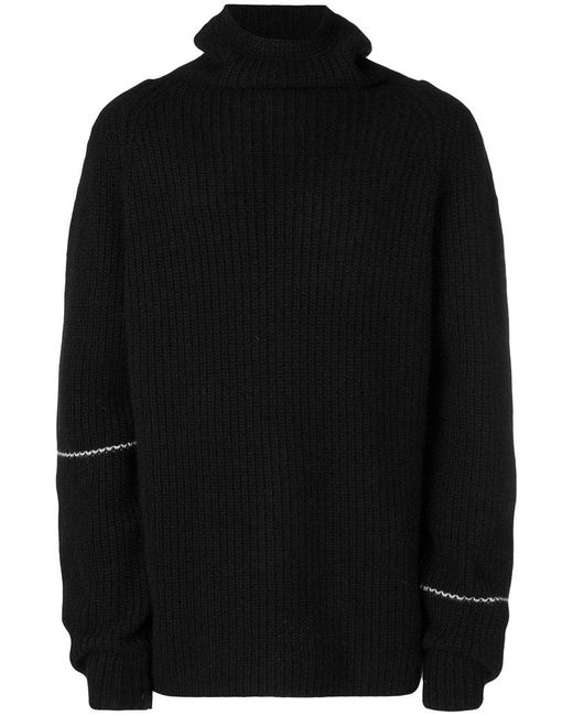 Lost and Found Rooms - Black Ribbed Roll Neck Sweater for Men - Lyst