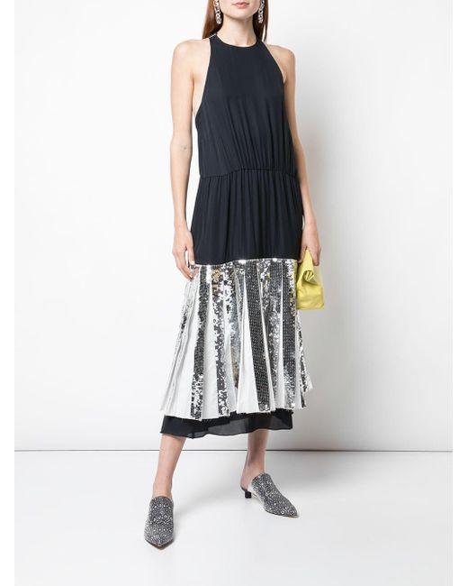 b78eb00e ... Tibi - Black Claude Sequin Panel Halterneck Dress - Lyst ...