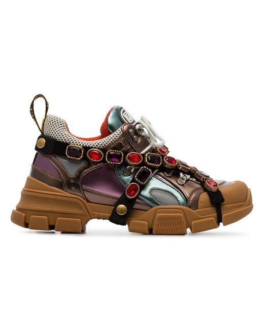 Gucci - Multicoloured Metallic Flashtrek Removable Crystal Sneakers - Lyst