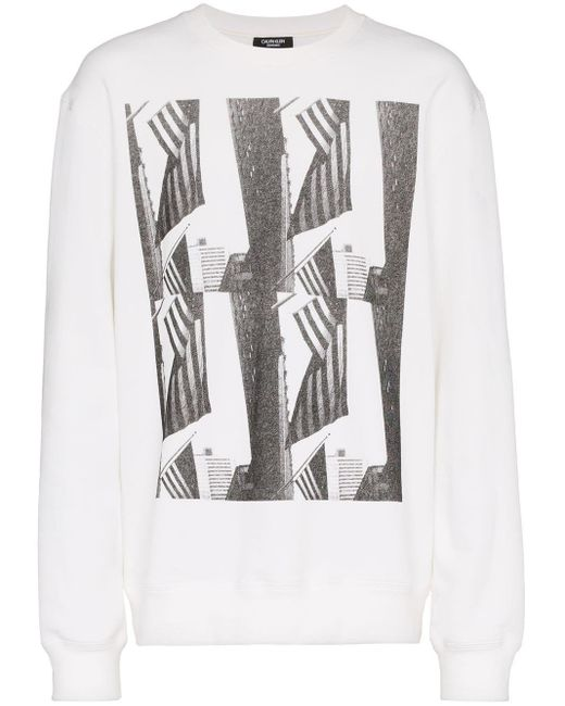CALVIN KLEIN 205W39NYC White Andy Warhol Flag Print Long Sleeved Top for men
