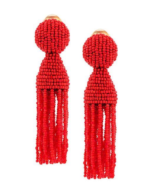 Oscar de la Renta - Red Beaded Clip-on Earrings - Lyst