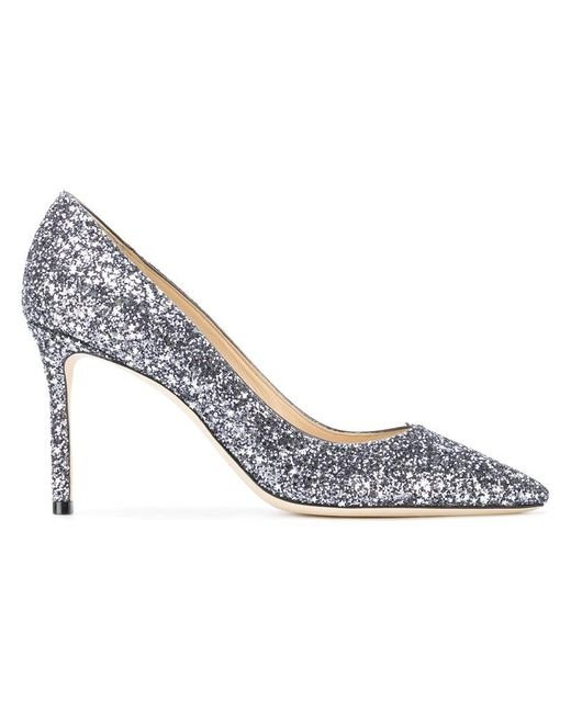 Jimmy Choo - Metallic Romy 85 Glitter Pumps - Lyst