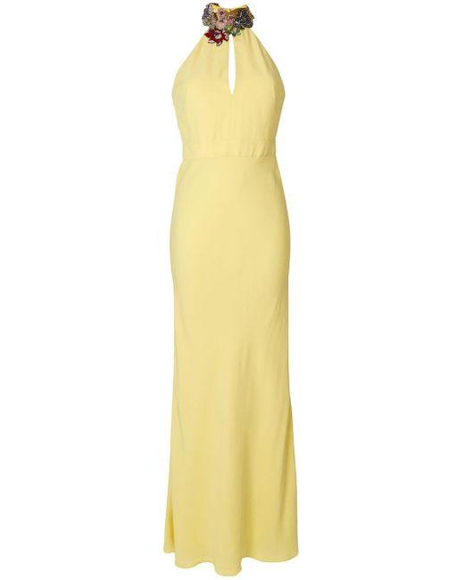 Alexander McQueen - Yellow Gemstone Floral Neckline Gown - Lyst