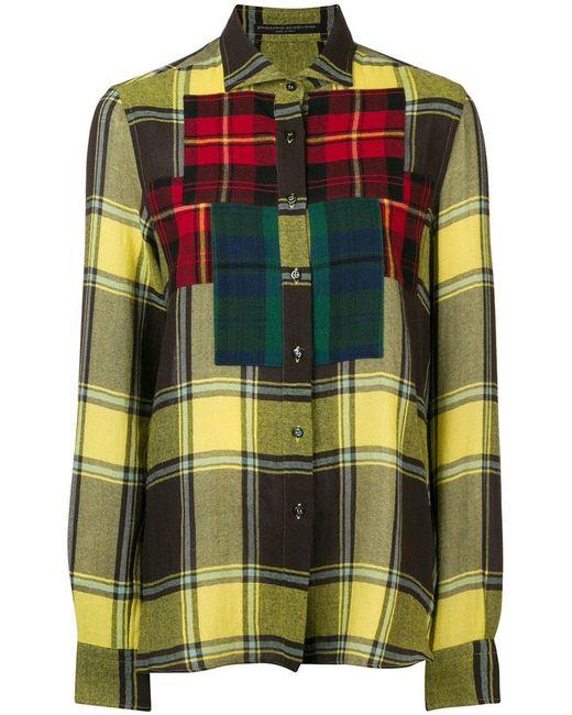 Ermanno Scervino - Yellow Colourblock Plaid Shirt - Lyst
