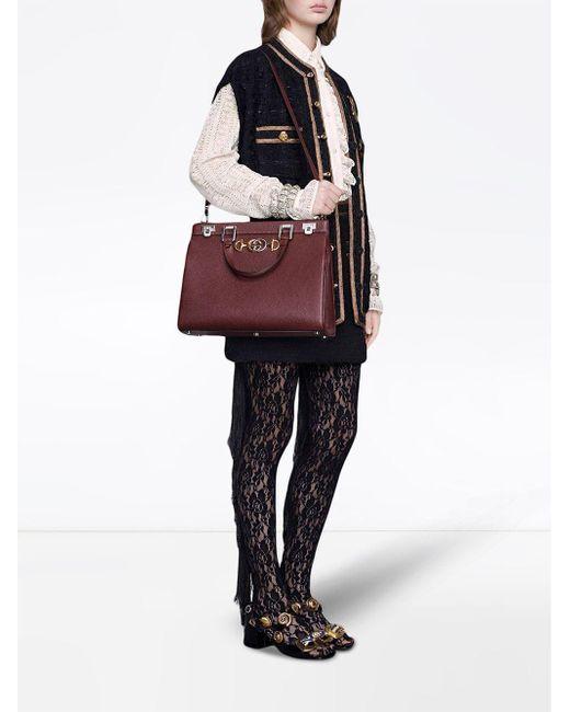 e960beec6 ... Gucci - Red Zumi Grainy Leather Medium Top Handle Bag - Lyst ...