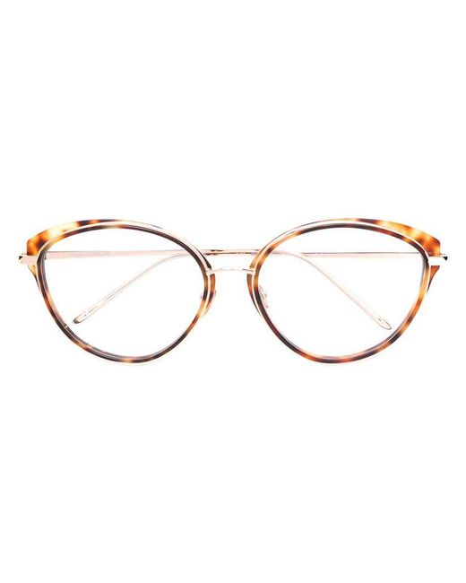 c13a89368a Linda Farrow - Brown Oversized Cat Eye Glasses - Lyst ...