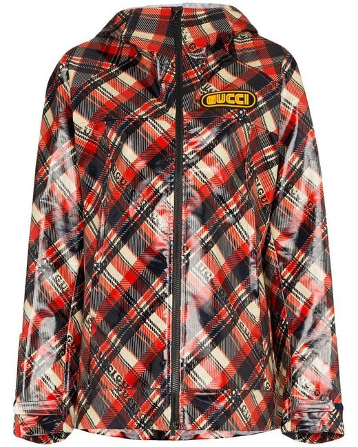 Gucci - Red Logo Tartan Coated Cotton Windbreaker - Lyst