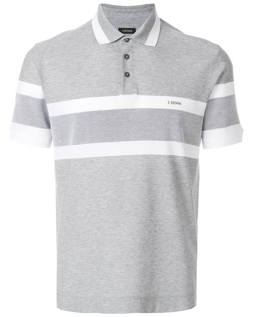 Lyst z zegna striped logo polo shirt in gray for men for Zegna polo shirts sale