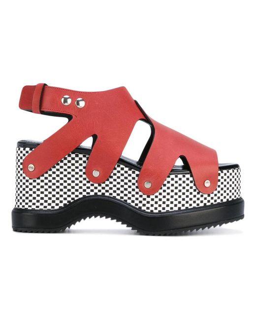 Proenza Schouler | Red Patterned Platform Sole Sandals | Lyst