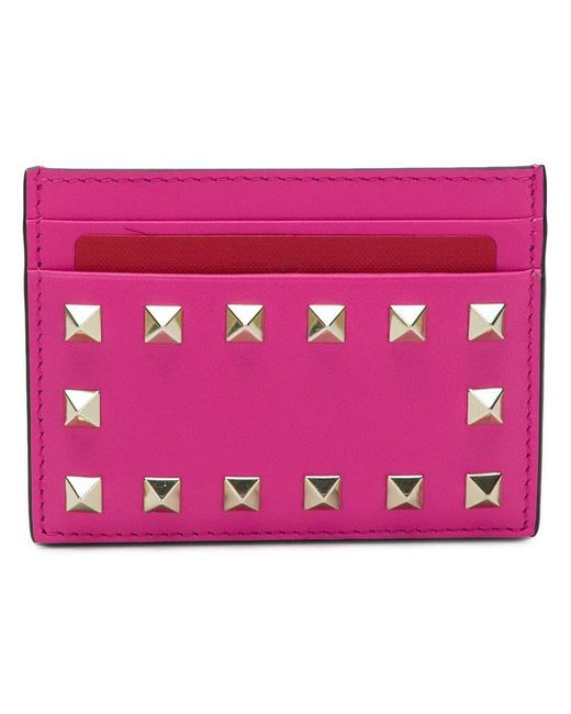Valentino - Pink Garavani Rockstud Cardholder - Lyst