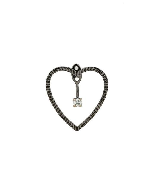 Yvonne Léon - Metallic 18kt Black Gold And Diamond Heart Earring - Lyst