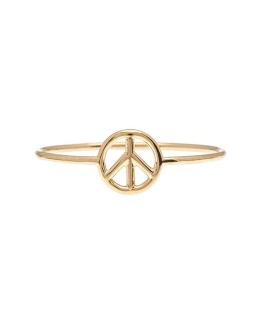 Aurelie Bidermann | Metallic 18kt Gold Peace Sign Ring | Lyst