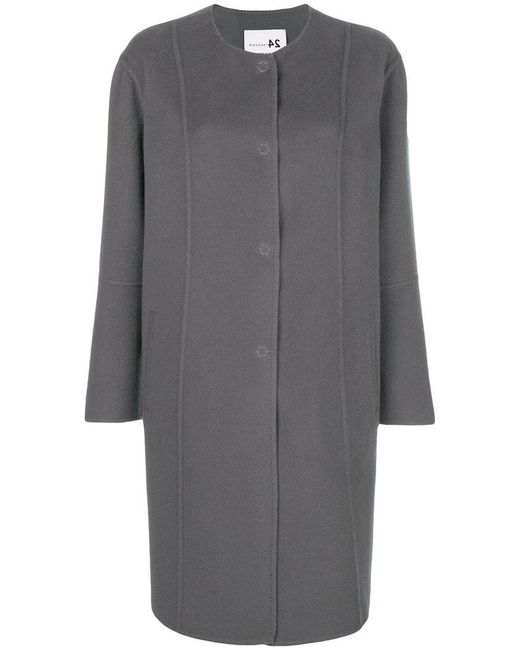 Manzoni 24 - Gray Single-breasted Fitted Coat - Lyst