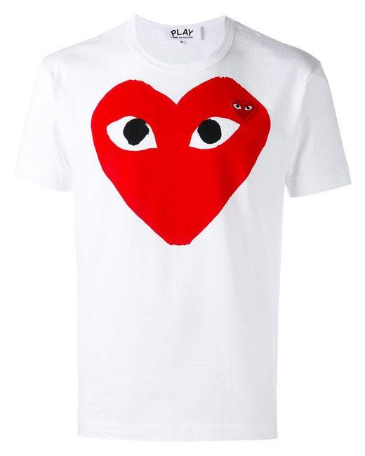 Play Comme des Garçons - White Printed T-shirt for Men - Lyst