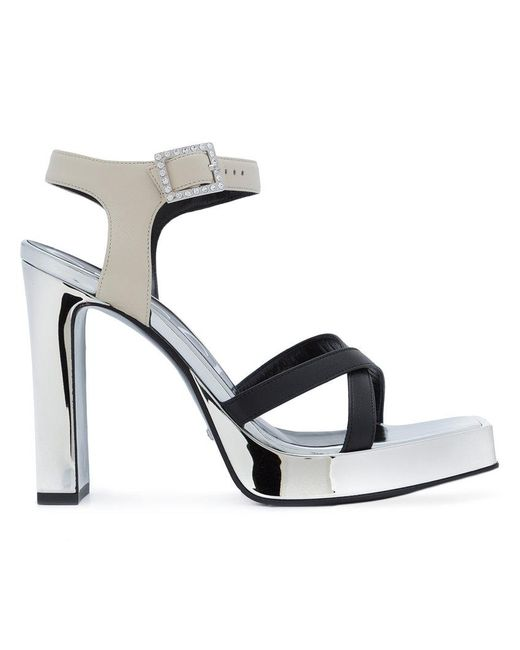 Gucci - Gray Crystal Buckle Sandals - Lyst