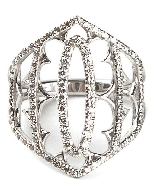Loree Rodkin - Metallic White Gold And Grey Diamond Pavé Shield Ring - Lyst