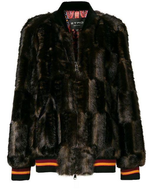 Etro - Brown Faux Fur Paneled Jacket - Lyst