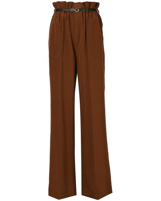 Chloé - Brown Wide Leg High-waisted Trousers - Lyst