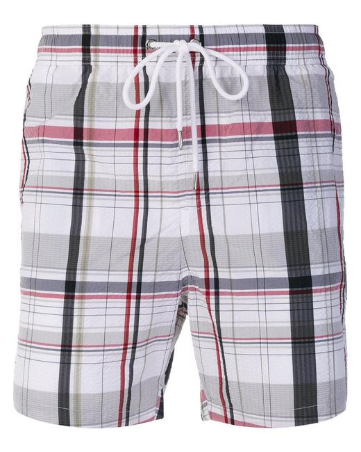 Moncler - White Checked Swim Shorts for Men - Lyst ...