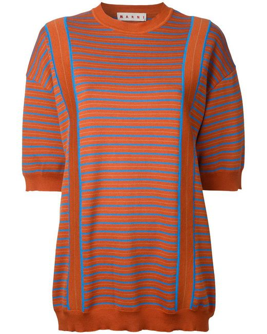 Marni | Orange Striped Knitted Sweater | Lyst