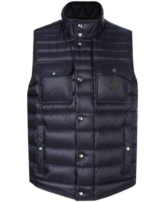 Moncler - Blue Quilted Effect Vest for Men - Lyst