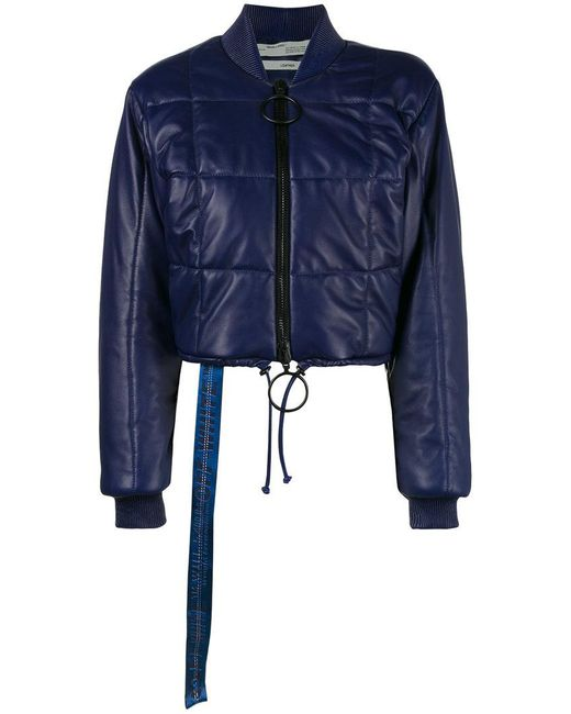 Off-White c/o Virgil Abloh - Blue Cropped Quilted Bomber Jacket - Lyst