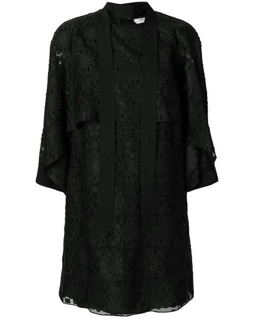 Fendi - Black Daisy Motif Dress - Lyst