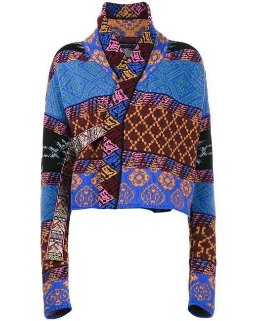 Etro   Blue Patchwork Wraparound Cardi-coat   Lyst