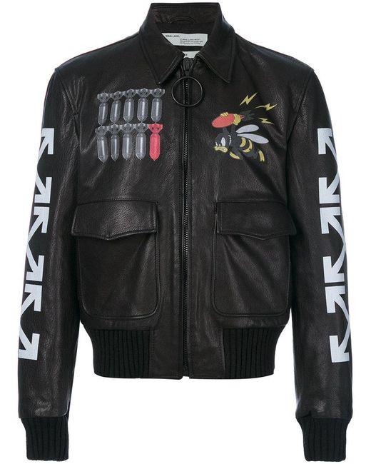 lyst off white c o virgil abloh printed bomber jacket in. Black Bedroom Furniture Sets. Home Design Ideas