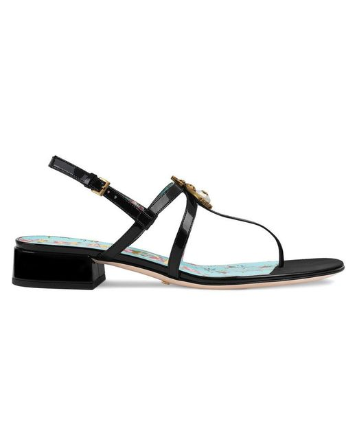 Gucci - Black Patent Leather Sandal With Bee - Lyst